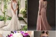 Harmonious Color Inspo - Deep Purples & Pink Neutrals / Jasmine Bridal bridesmaid dresses and wedding dresses that create a beautiful color theme of deep purples and pink neutrals.