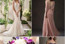 Harmonious Color Inspo - Deep Purples & Pink Neutrals / Jasmine Bridal dresses that create a beautiful color theme of deep purples and pink neutrals.