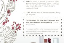 """My Pharmaca Makeup Bag / 1. Create a board called """"My Pharmaca Makeup Bag"""" 2. PIN at least 5 makeup or skincare items from pharmaca.com...things you want to see in your dream makeup bag! 3. Use #PharmacaDreamMakeupBag on all pins  On October 31, 2013 one lucky winner will win their dream makeup bag, up to a $200 value!  Photos pinned from other websites or sources are not eligible. For complete rules, visit http://www.pharmaca.com/pintowin / by Pharmaca Integrative Pharmacy"""