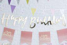 Décoration anniversaire rose menthe doré - Birthday decorations
