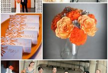 Orange & gray wedding