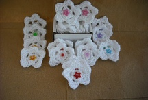 Crochet Applique Flowers/Flower Petals With Jewel Center / by sabrina purvis