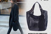 Mona Croc embossed Italian leather hobo