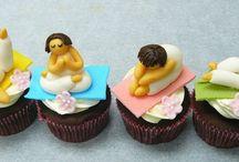 yoga topper cupcakes