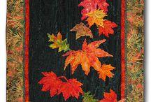 Arboles y hojas en tela