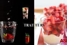 Traiteurs / Verrines, verre ou plastique.Produits personalisés