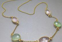 Rose Quartz and Green Chalcedony Gemstone Necklace / Gemstone Jewellery