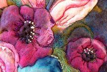 Bilder av ull og symaskin-tekstil