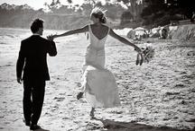 Santa Barbara Wedding Photographer / Santa Barbara beach wedding picture with bride and groom.
