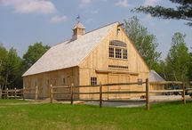 Horse Barns / Here's a horse barn with a very powerful design, both externally for its architectural integrity, as well as internally for its utility. The loft is nothing short of massive, and the drive-thru center alley allows for stalls, tack rooms, grooming areas and numerous door and window configurations. / by Country Carpenters, Inc.