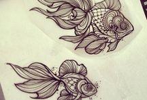 Gold fish tattoo