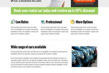 car hire or car rental landing page