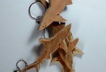 Shark olivewood keychain