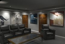 Home Theater Designs / Home Theaters featuring our Decorative Acoustic Panels