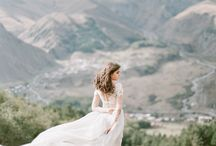 """From the Forest"" Styled Shoot / Natural, windswept shoot with elegant details and a touch of dusty blue. Columbia Gorge, sunset."