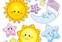 солнце,луна,звезды и др.
