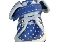Dog Sneakers - Polka Dots & Flowers / These warm weather sneakers for dogs will keep your pup's paws clean while playing outside, as well as protect the pads from coarse and hot ground such as concrete or sand. So next time you go to the park or beach in the hot summer sun, don't forget to dress your dog in these precious casual-wear dog running shoes.
