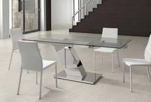 Modern Glass Stainless Steel Extendable Dining Collection