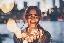 Christmas lights portrait · Inspiration