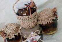 Jars with honey handmade
