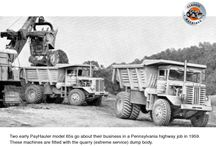 The small PayHaulers: International-Harvester's 65, 95 & 100 trucks / Determined to break into the off highway truck market, International Harvester introduced the model PayHauler 65 (18 ton capacity) and Payhauler 95 (24 ton capacity) in 1957. I.H. engineers had made a close study of comparable Mack and Euclid off highway rear dumps and come up with their own hybrids which, as it turned out, were very successful. These machines were simple to operate, easy to repair and exceptionally ruggedly built