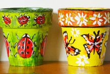 Hand Painted Terracotta Pots / Totally unique and a wonderful way to add colour to your home at an affordable price