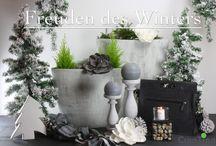 Freuden des Winters / In Freuden des Winters sind edle grau, creme und weiß Töne gemischt mit kräftigen Farben zusammen gestellt. Kerzenhalter, Pflanzgefäße, einer Laptoptasche oder auch einem Schal.