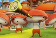 Boom & reds, cartoon games / Boom & Reds is a cartoon series for babies and preeschool children. It features a warm and friendly purple ogre, Boom, who, in every episode, will try to find out what a big crowd of peppy little mushroom-headed creatures, the Reds, are drawing in the floor. Riddle, Guess, Discover and play with kids