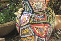Jarrones con mosaico