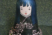 My dolls and cats. Colorful Wood Burning Art / wooden dolls, roly-poly made by me, wooden cats, a cat-bell