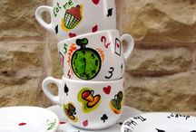 Portelan si ceramica pictata manual / Obiecte din portelan/sticla sau ceramica, pictate manual in culori speciale.  Ceramic/porcelaine or glass objects, hand-painted in special colours.
