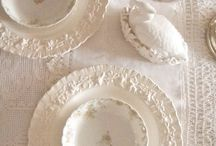 Tea cups and saucers, teapots, plates