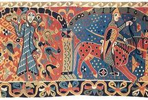 12th Century Tapestry and Textiles / Extant 12th century woven tapestries and other textiles used in clothing and household items.