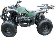TrailMaster ATV 150 / TrailMaster ATV 150cc larger sized  ATV features a Fully Automatic CVT Transmission, Front and Rear Racks, Front Drum, Rear Disc Brakes, Electric Start with Kick Backup, Black Anodized Wheels, Dual Headlights