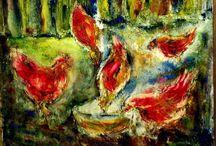 art oil Painting chickens, куры