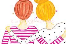 Motif jeunes filles
