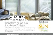 Shades On Wheels Promotions / Shades On Wheels participates in seasonal Hunter Douglas window treatment promotions throughout the year so you can take advantage of stylish window treatments at a savings!