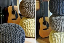 Round knitted poufs, pods, bean bags, floor cushion / Hand knitted floor cushions /pous/pods/beanbags, variety of colours