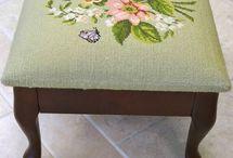 needlepoint footstool