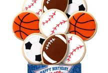 Sports Themed Decorated Cookie Bouquets/Gifts / Get in the game with our sports themed decorated shortbread cookie gifts.   https://www.corsoscookies.com/theme/sports-cookie-gifts.html