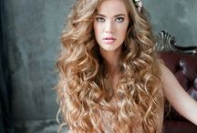 bride curls wedding hair makeup flowers dress