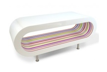 Striped Tables / Stripey Tables - customisable - choose colours, size. Add feet or a glass shelf. Free UK & Ireland delivery. www.zespoke.com