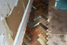 Before and after old flooring. / Parquet wood flooring from a school in Manchester England.