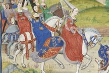 Medieval ladies on horseback