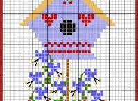 punto croce birdhouse