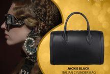 Jackie black Italian leather Cylinder bag