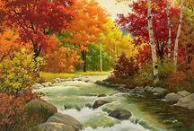 Paysage d'automne pour peinture