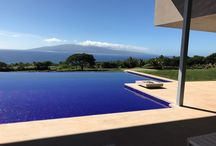 """Maui House Project / Four Solus Decor Halo 36"""" fire pits around the pool as part of the Maui house project, designed by Rick Ryniak Architects."""