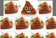 Emoji Poopy Adorable Message Pillow / Make someone smile today by sending that special person this poopy adorable message pillow!!   What a fun gift to give to make that person feel poopy special :-)  You can pick your message (see 2nd picture and the #) or you can send in your own personalized message (be nice, cute and funny :-) )  The sample messages will be handwritten with permanent marker by me (Please note that the writing will be different than those in the sample messages)  Have a wonderful poopy day!!