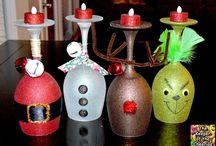 Wine glass art Christmas